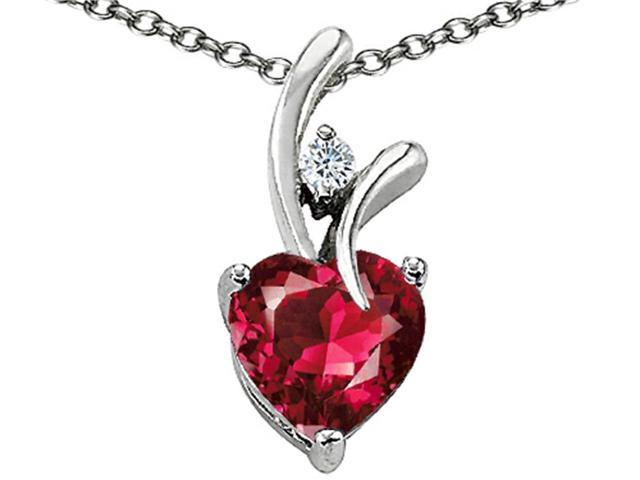 """Star K 1.95 CTW Heart Shaped 8mm Created Ruby in Sterling Silver Pendant Necklace 18"""""""