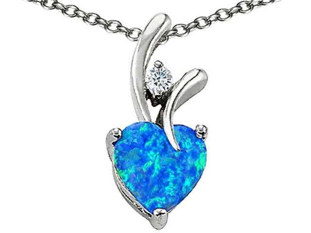 Star K Heart Shape 8mm Blue Simulated Opal Pendant in Sterling Silver