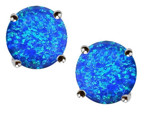 Star K Round 7mm Blue Created Opal Earrings Studs in Sterling Silver