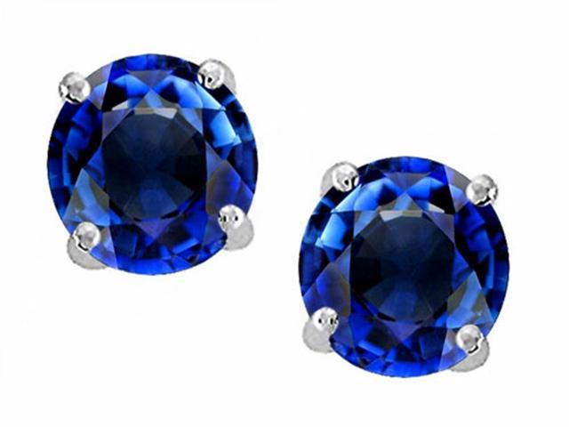 Star K 3.00 Cttw Round 7mm Created Sapphire Earring Studs