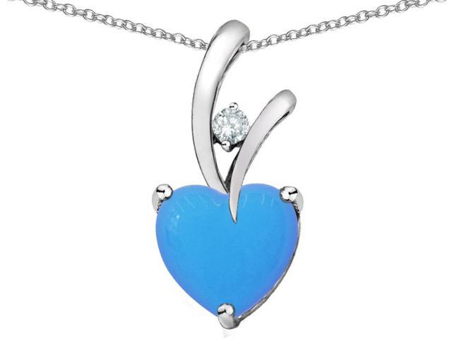 Star K Heart Shape 8mm Simulated Turquoise Pendant in Sterling Silver