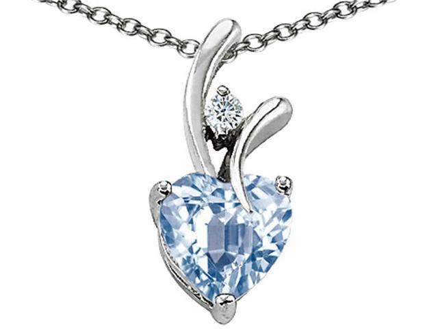 """Star K 1.95 Cttw Heart Shaped Simulated Aquamarine Sterling Silver Pendant Necklace 18"""""""
