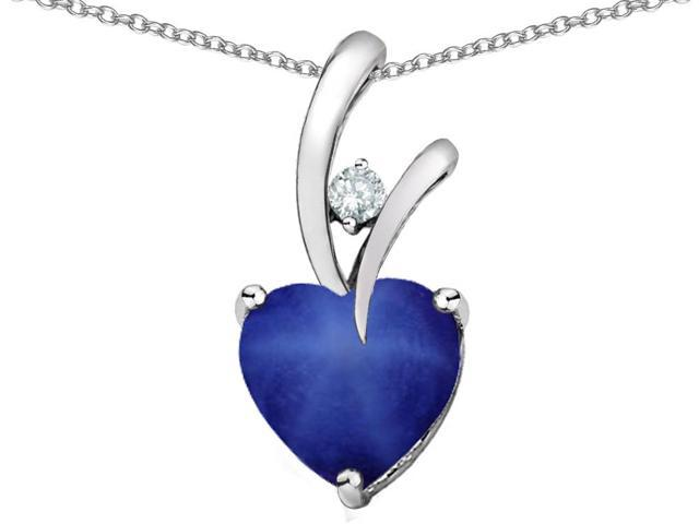 Star K(TM) Heart Shape 8mm Created Star Sapphire Pendant
