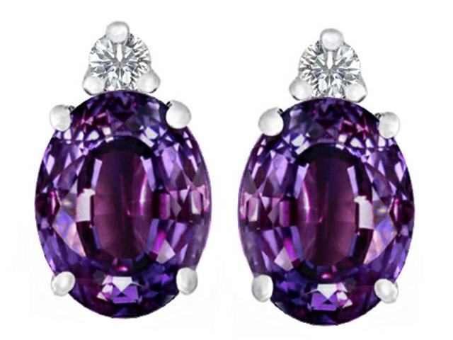 Star K 8x6mm Oval Simulated Alexandrite Earrings Studs in Sterling Silver