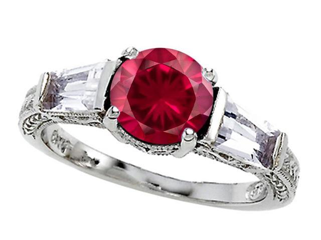 Star K Created Ruby Ring in Sterling Silver Size 7