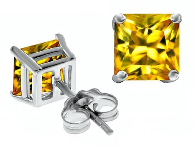 Star K Square 7mm Simulated Yellow Sapphire Earrings in Sterling Silver