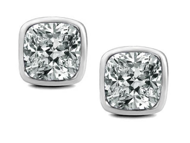 Star K 8mm Cushion Cut Genuine White Topaz Earrings Studs in Sterling Silver