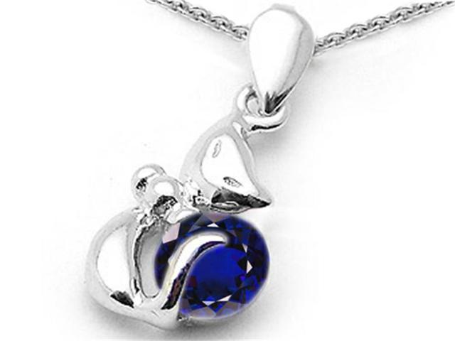 Star K Round 6mm Created Sapphire Cat Pendant in Sterling Silver