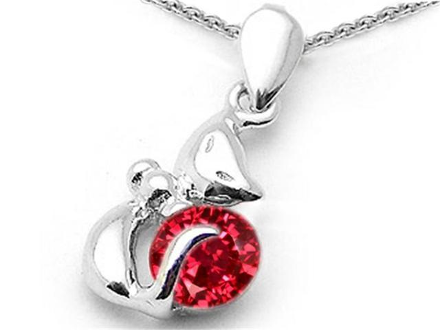 Star K Round 6mm Created Ruby Cat Pendant Necklace in Sterling Silver