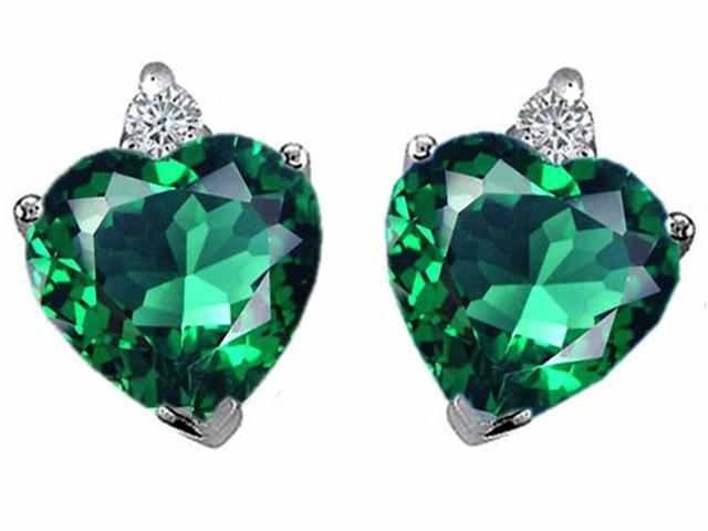 Star K Heart Shape 7mm Simulated Emerald Earrings in Sterling Silver