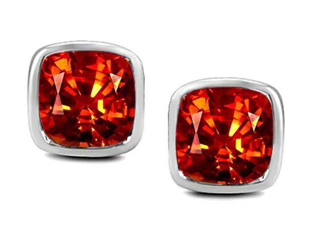 Star K 8mm Cushion Cut Simulated Mexican Orange Fire Opal Earrings Studs in Sterling Silver