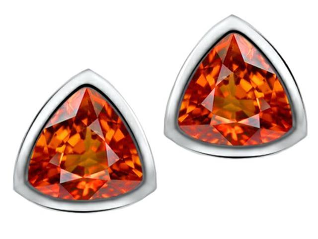 Star K 7mm Trillion Cut Simulated Orange Mexican Fire Opal Earrings Studs in Sterling Silver