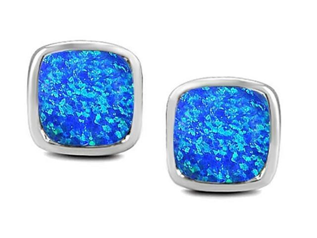 Star K 8mm Cushion Cut Blue Created Opal Earrings Studs in Sterling Silver