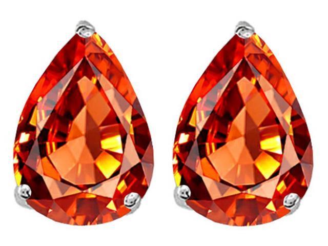 Star K Pear Shape 9x7mm Simulated Orange Mexican Fire Opal Earrings Studs in Sterling Silver
