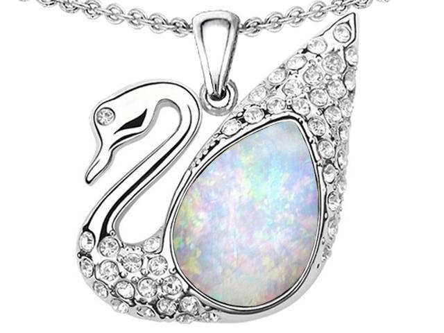 Star K Love Swan Pendant with Pear Shape Simulated Opal in Sterling Silver
