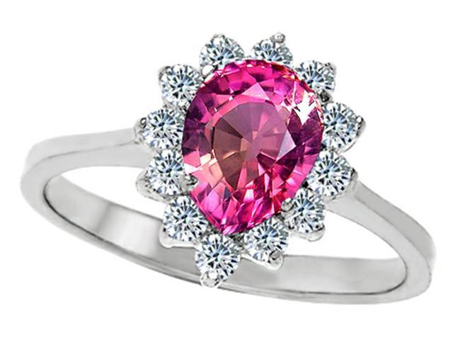 Star K 8x6mm Pear Shape Created Pink Sapphire Ring in Sterling Silver Size 6