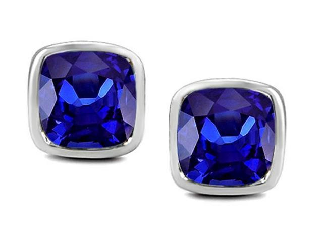 Star K 8mm Cushion Cut Simulated Tanzanite Earrings Studs in Sterling Silver