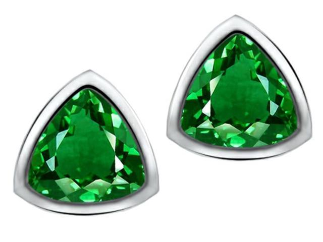 Star K 7mm Trillion Cut Simulated Emerald Earrings Studs in Sterling Silver