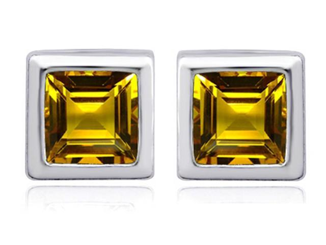 Star K 7mm Square Cut Simulated Citrine Earrings Studs in Sterling Silver