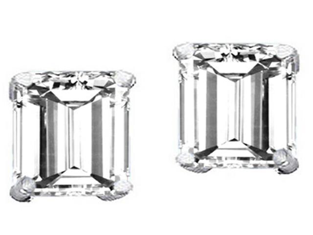 Star K Square 7mm White Topaz Earrings in Sterling Silver