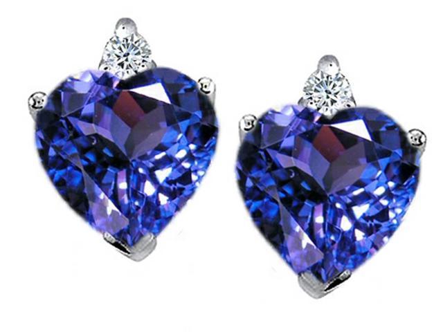 Star K Heart Shape 7mm Simulated Tanzanite Earrings in Sterling Silver