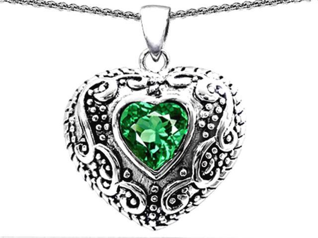 Star K Bali Style Puffed 7mm Heart Simulated Emerald Pendant Necklace in Sterling Silver