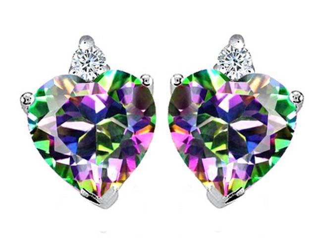 Star K Heart Shape 7mm Rainbow Mystic Topaz Earrings in Sterling Silver