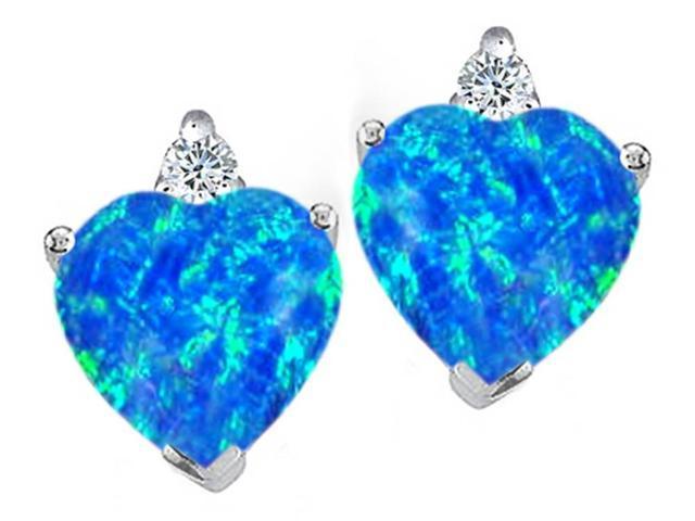 Star K 7mm Heart Shape Simulated Blue Opal Earrings in Sterling Silver