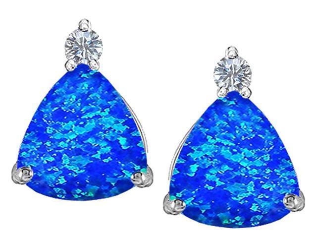 Star K 7mm Trillion Cut Blue Created Opal Earrings Studs in Sterling Silver