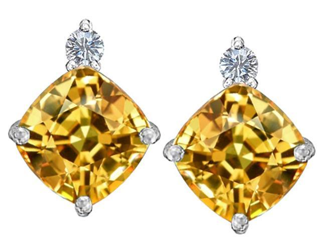 Star K 7mm Cushion Cut Simulated Imperial Yellow Topaz Earrings Studs in Sterling Silver