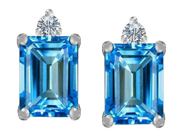 Star K 8x6mm Emerald Octagon Cut Simulated Blue Topaz Earrings Studs in Sterling Silver