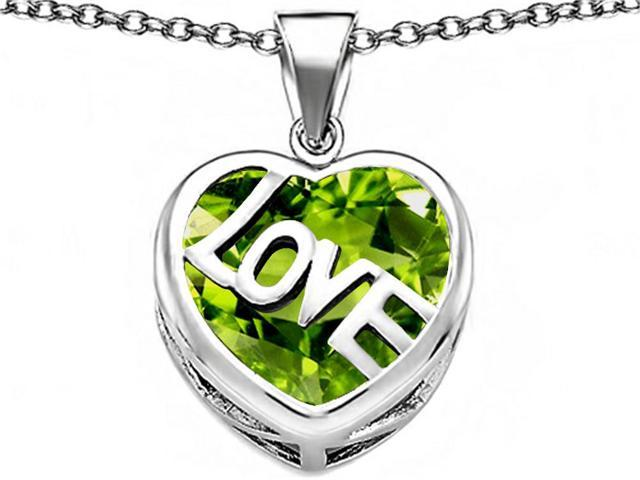 Star K Large Love Heart Pendant with 15mm Heart Shape Simulated Peridot in Sterling Silver