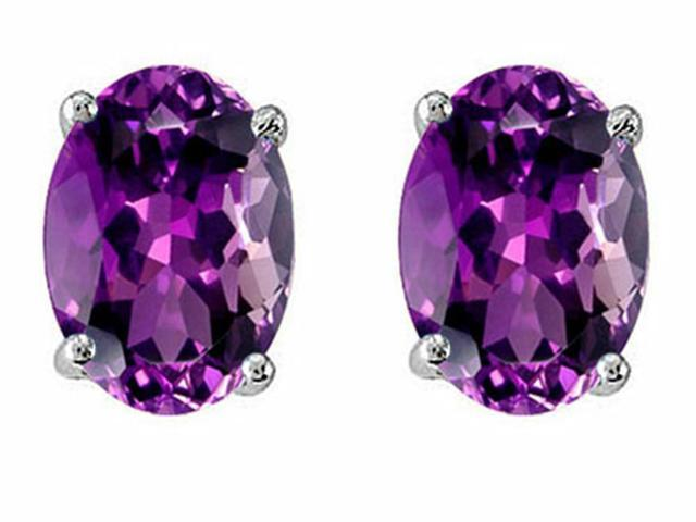 Star K Oval 8x6mm Simulated Amethyst Earrings Studs in Sterling Silver