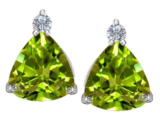 Star K 7mm Trillion Cut Simulated Peridot and Cubic Zirconia Earrings Studs in Sterling Silver