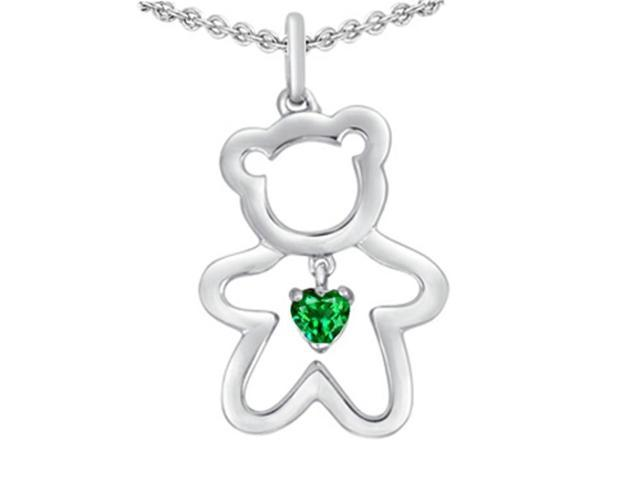Star K Love Teddy Bear with 4mm Heart Shape Simulated Emerald in Sterling Silver