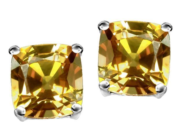 Star K Cushion Cut 7mm Simulated Imperial Yellow Topaz Earrings Studs in Sterling Silver
