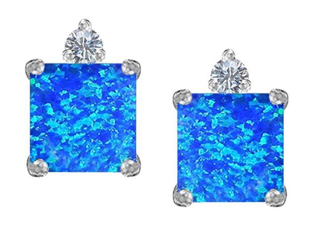 Star K 7mm Square Cut Blue Simulated Opal Earrings Studs in Sterling Silver