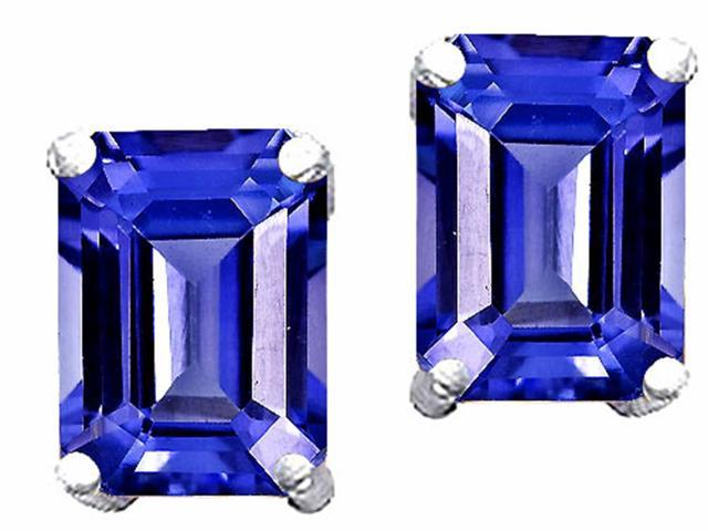 Star K 8x6mm Emerald Cut Simulated Tanzanite Earrings in Sterling Silver