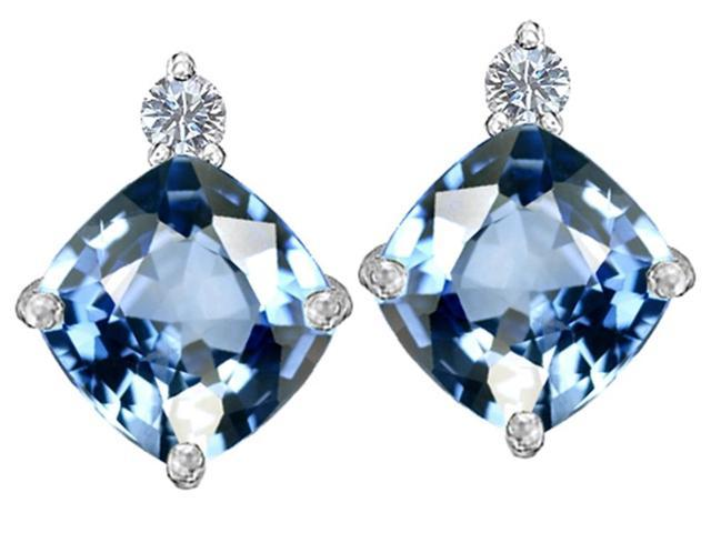 Star K 7mm Cushion Cut Simulated Aquamarine Earrings Studs in Sterling Silver