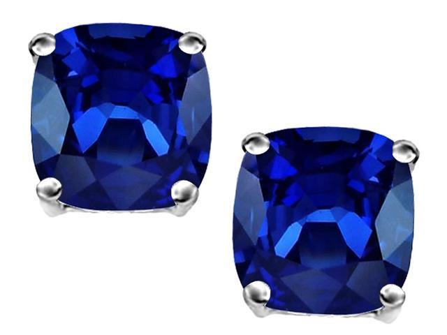 Original Star K 3.00 Ct. TW. Cushion Cut 7mm Created Sapphire Solitaire Stud Earrings