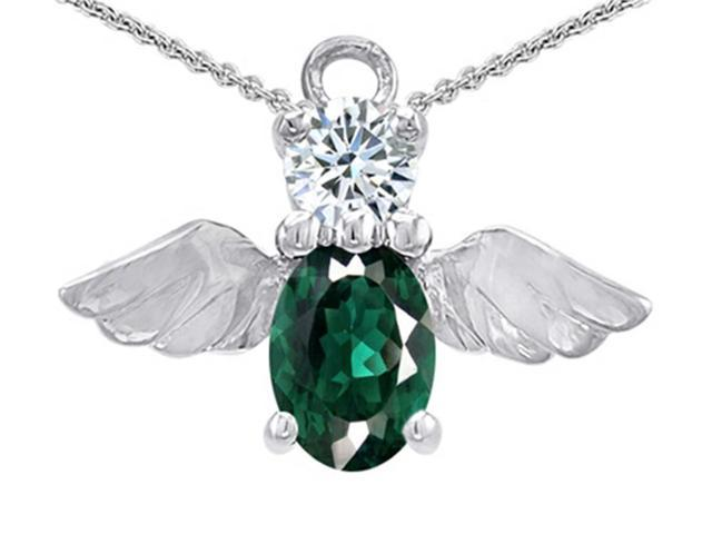 Star K Angel Of Love Protection Pendant Made with Oval 8x6mm Simulated Emerald in Sterling Silver