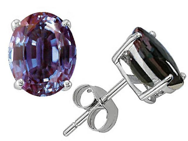 Star K Oval 8x6mm Simulated Alexandrite Earrings Studs in Sterling Silver