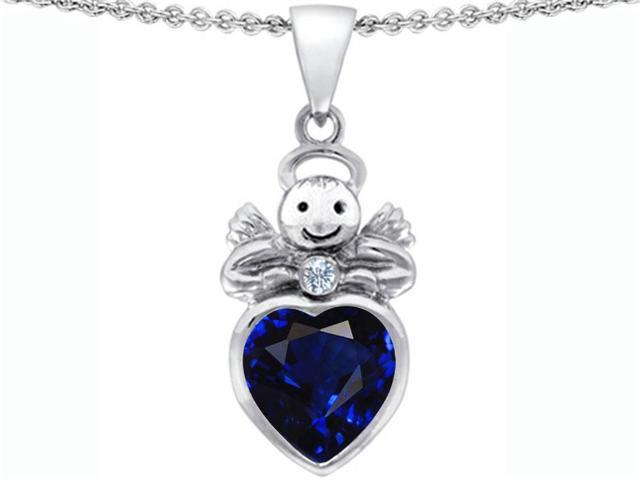 Star K Love Angel Pendant with 10mm Simulated Sapphire Heart in Sterling Silver