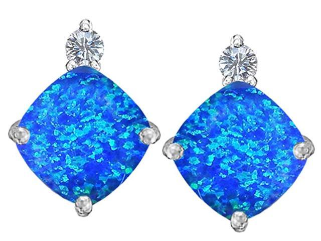 Star K 7mm Cushion Cut Blue Simulated Opal Earrings Studs in Sterling Silver