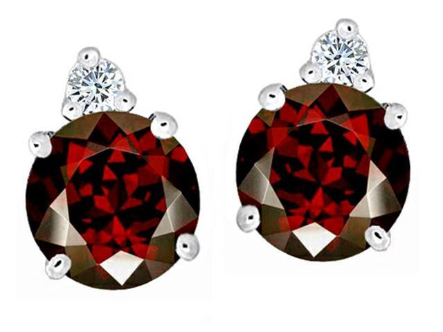 Star K Round 7mm Simulated Garnet Earrings Studs in Sterling Silver