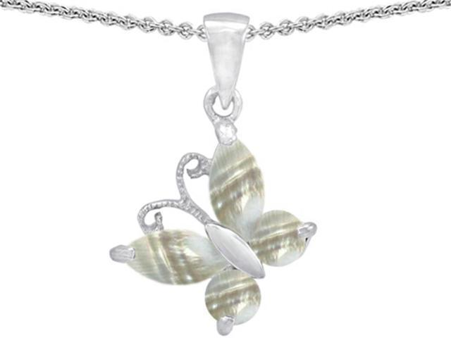 Star K Butterfly Pendant Made with Sea Shell in Sterling Silver