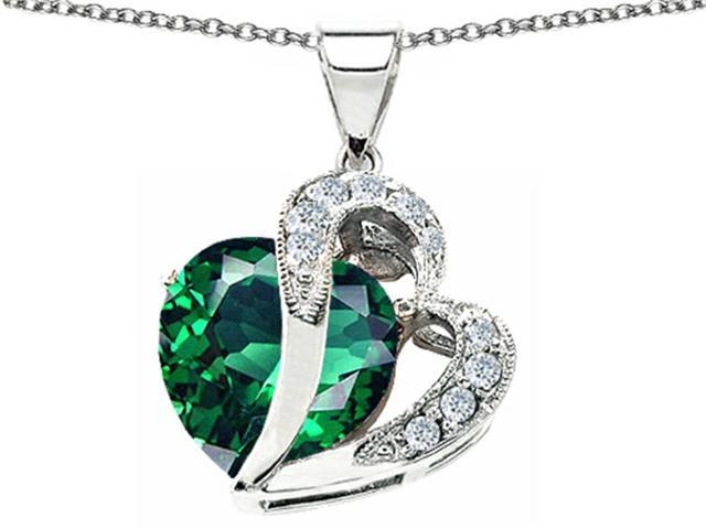 10.30 cttw Original Star K(TM) Heart Shape 12mm Simulated Emerald Pendant