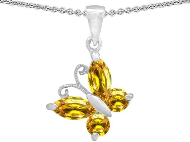 Star K Butterfly Pendant Made with Simulated Citrine in Sterling Silver