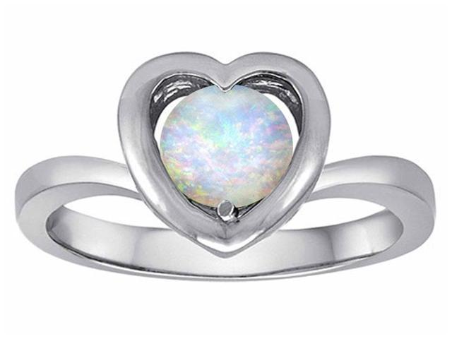 Star K Heart Promise of Love Ring with 7mm Round Simulated Opal in Sterling Silver Size 5