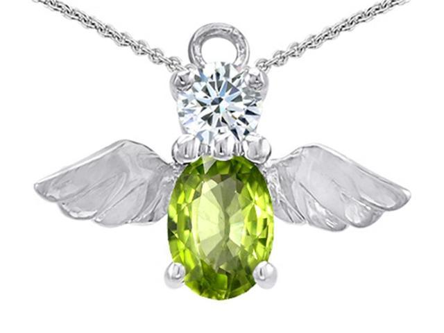 Star K Angel Of Love Protection Pendant Necklace with Oval 8x6mm Simulated Peridot and Cubic Zirconia in Sterling Silver